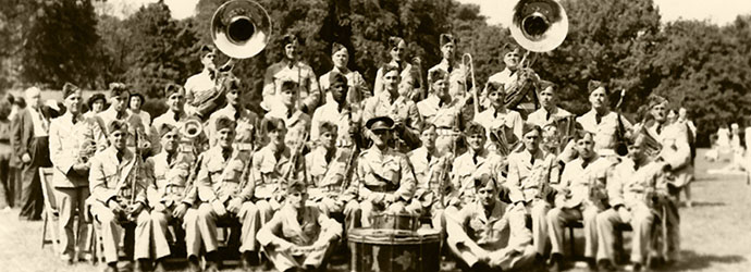 1942 RHLI Band at Gage Park with Bandmaster Sharman